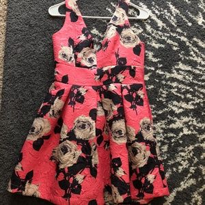 Pink floral women's dress with low cut back